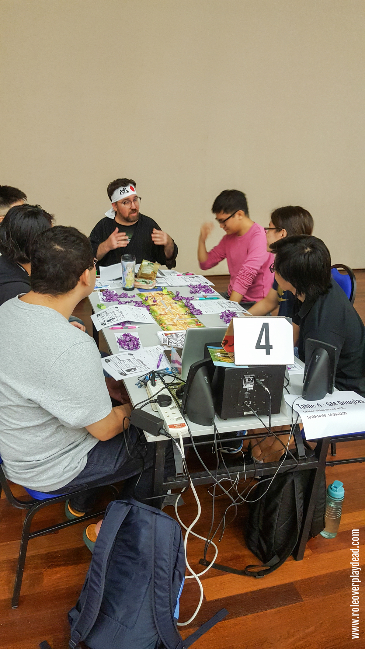 GM Doug running Golden Sky Stories RPG sessions at Kaijucon 2018.