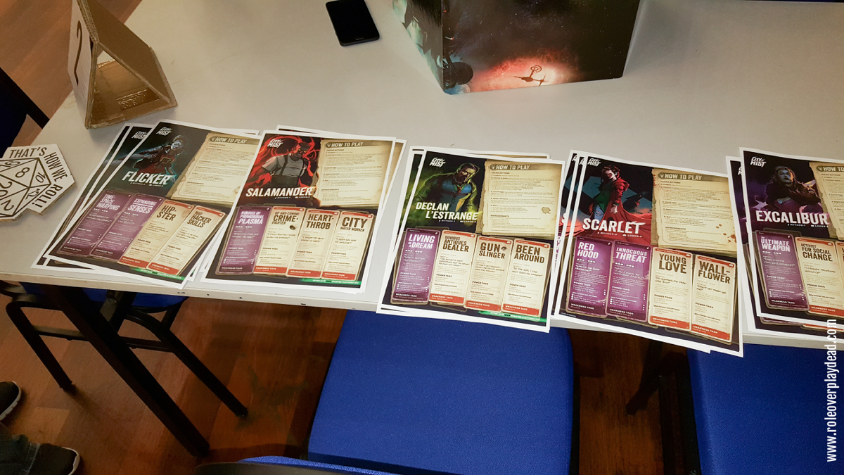 GM Josh's spread of City of Mist printouts for his RPG games sessions at Kaijucon 2018.   City of Mist is a noir tabletop role-playing game about ordinary city residents with legendary powers, investigating strange cases in a city of modern-day legends.