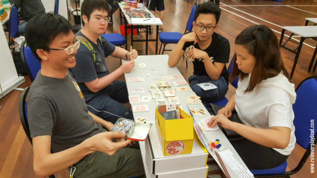 Boxfox Games demonstrating the soon-to-be-launched Pasaraya card game. Do LIKE and follow them on Facebook!