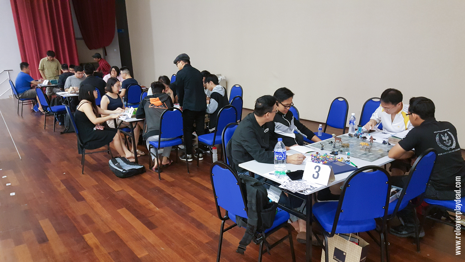 We had packed RPG tables on the stage. From left to right, you can see the games run by GM Razzman Khaliff, GM Lucas, GM Samwise Mui and GM Jerry Khor.