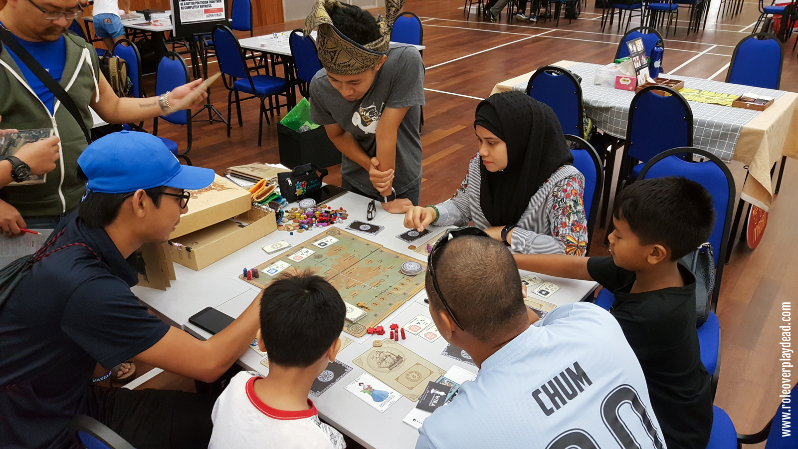 The main floor showcased many local board games, including this beautifully illustrated prototype for Empayar Selat Nusantara, set in a Southeast Asian archipelago by Abdul Aziz.