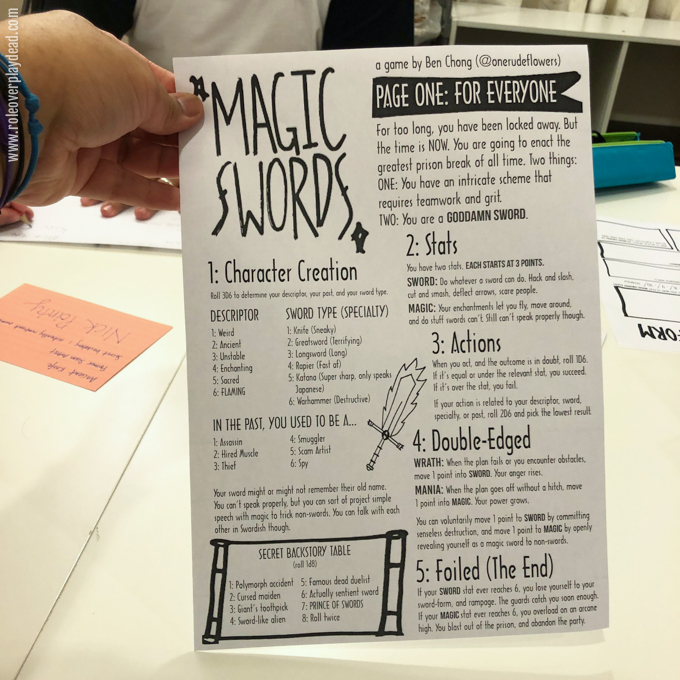 Magic Swords V By Ben Chong OneRudeFlowers Role Over Play Dead - High concept document game design