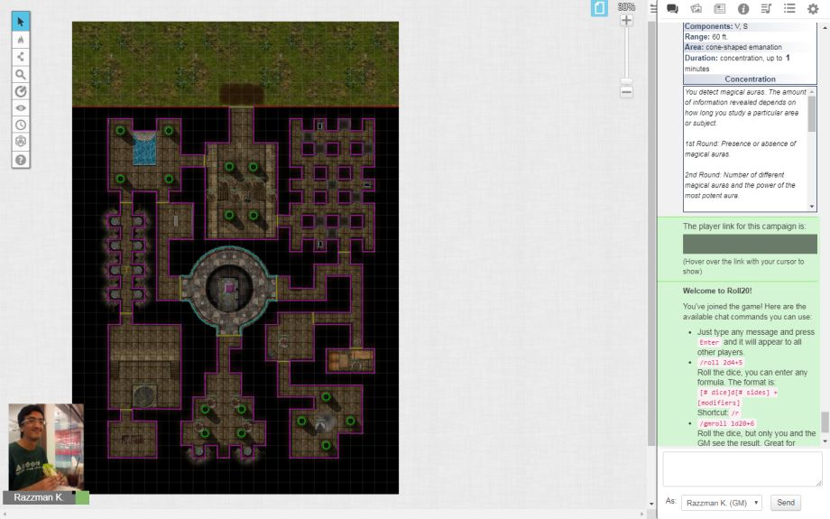 Roleplaying online using Roll20: Dungeon map, ready for action in Pathfinder 1st Edition.