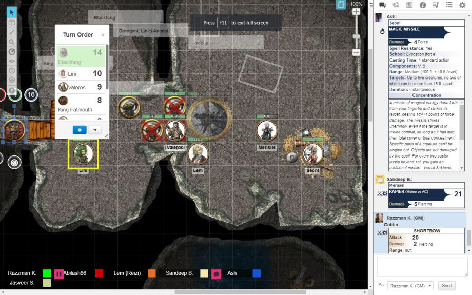 Roleplaying online using Roll20:  A fierce dragon battle in Pathfinder 1st Edition.