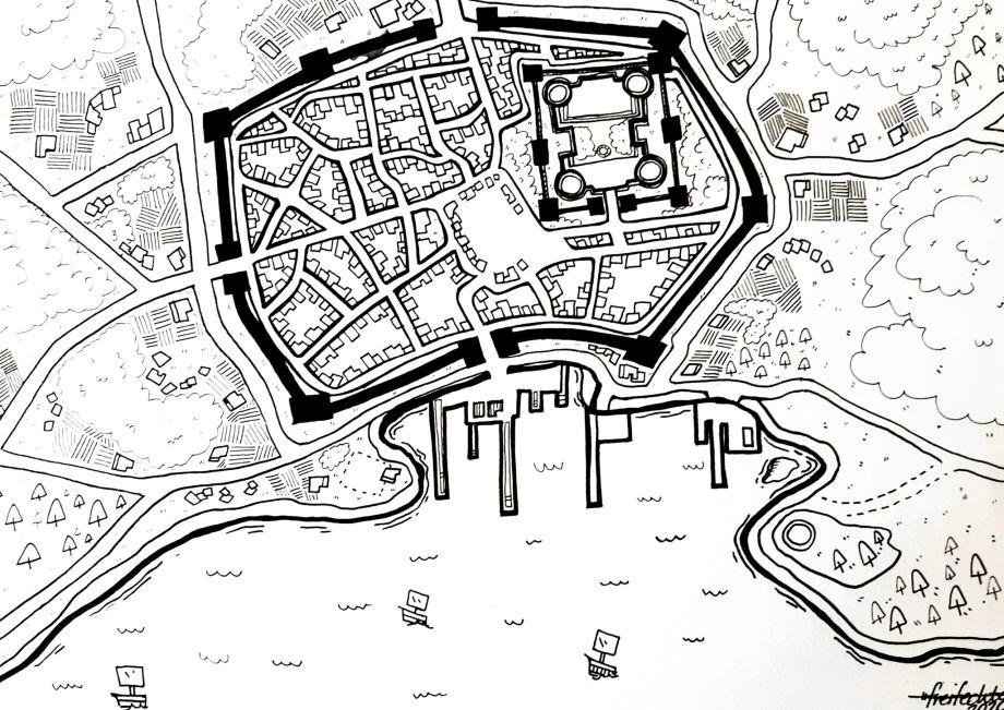 A walled city map with surrounding land and sea features